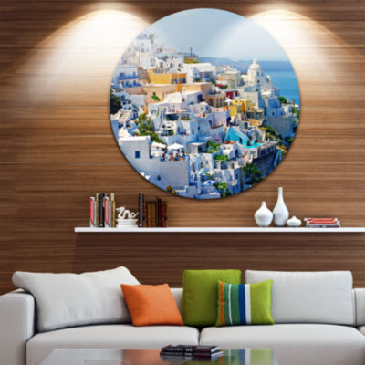 Design Art View of Fira Town Santorini Abstract Round Circle Metal Wall Art Panel