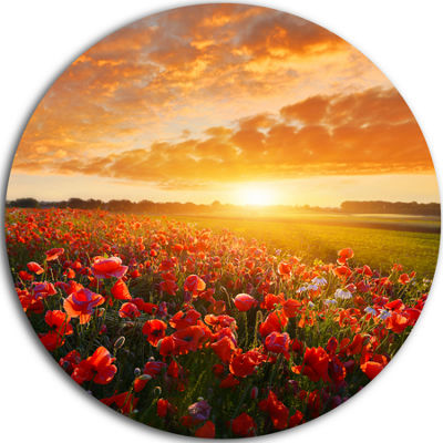 Design Art Beautiful Poppy Field at Sunset Abstract Round Circle Metal Wall Art Panel