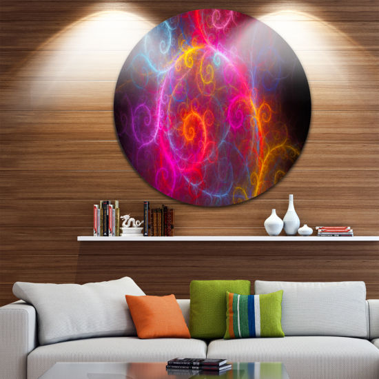 Design Art Beautiful Pink Pattern on Black Abstract Round Circle Metal Wall Art Panel