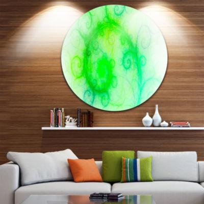 Design Art Beautiful Bright Green Pattern AbstractRound Circle Metal Wall Art Panel