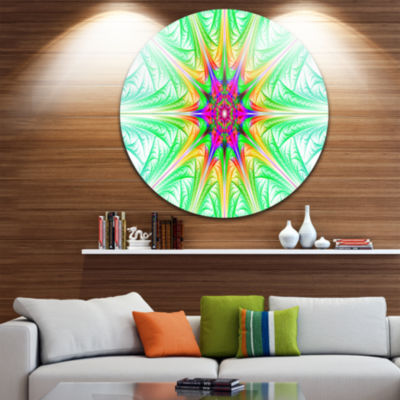 Design Art Green Fractal Stained Glass Abstract Round Circle Metal Wall Art Panel