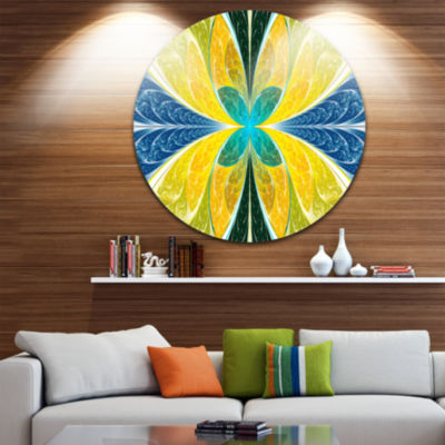 Design Art Yellow Fractal Stained Glass Abstract Round Circle Metal Wall Art Panel