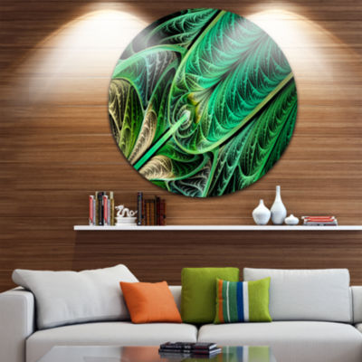 Design Art Green on Black Fractal Stained Glass Abstract Round Circle Metal Wall Art Panel