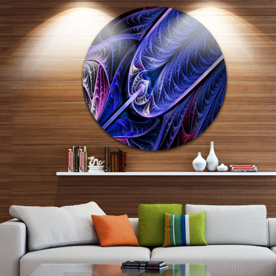 Design Art Blue on Black Fractal Stained Glass Abstract Round Circle Metal Wall Art Panel