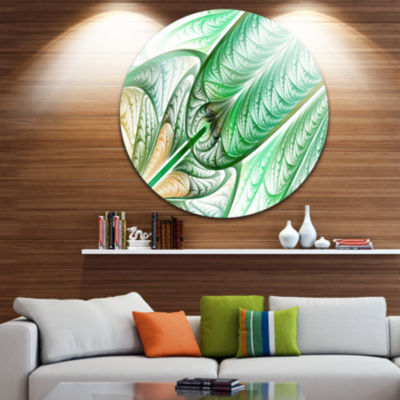 Design Art Green on White Fractal Stained Glass Abstract Round Circle Metal Wall Art Panel