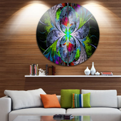 Design Art Multi Color Fractal Stained Glass Abstract Round Circle Metal Wall Art Panel