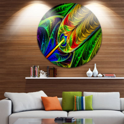 Design Art Stained Glass with Glowing Designs Abstract Round Circle Metal Wall Art Panel