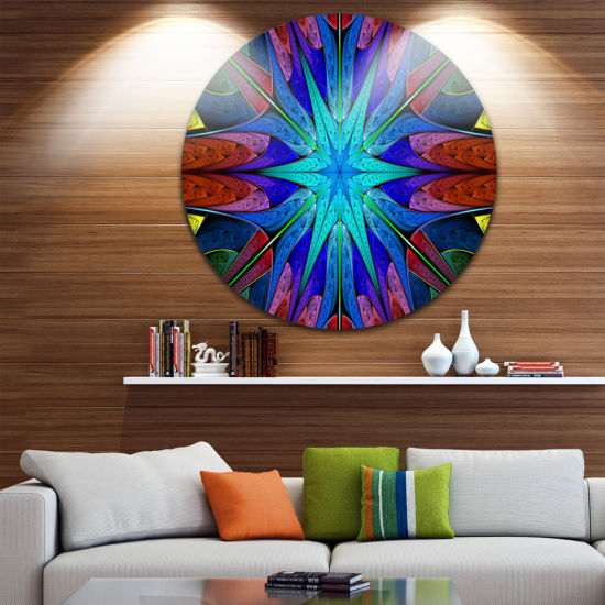 Design Art Stained Glass with Multi Color Stars Abstract Round Circle Metal Wall Art Panel