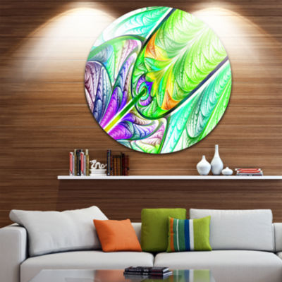 Design Art Green Blue Fractal Stained Glass Abstract Round Circle Metal Wall Art Panel