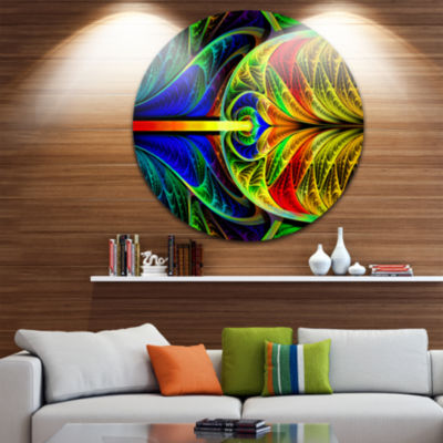 Design Art Colorful Stained Glass Texture AbstractRound Circle Metal Wall Art Panel