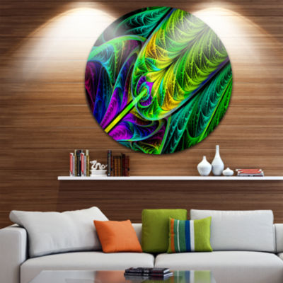 Design Art Green Stained Glass Texture Abstract Round Circle Metal Wall Art Panel