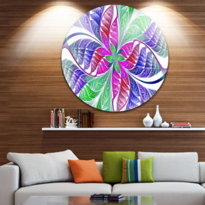 Design Art Flower like Fractal Stained Glass Abstract Round Circle Metal Wall Art Panel