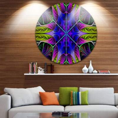 Design Art Star Shaped Blue Stained Glass AbstractRound Circle Metal Wall Art