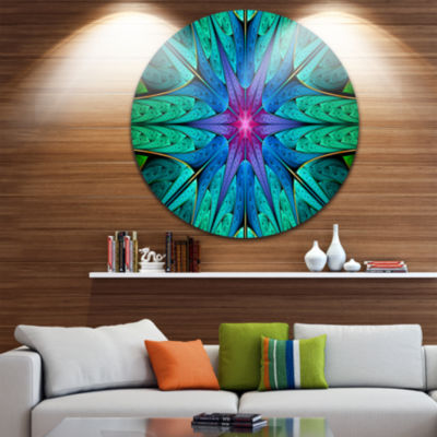 Design Art Turquoise Star Fractal Stained Glass Abstract Round Circle Metal Wall Art