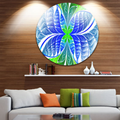 Design Art Green Blue Fractal Glass Texture Abstract Round Circle Metal Wall Art
