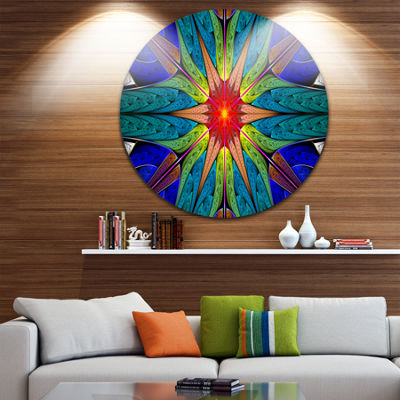 Design Art Budding Fractal Colorful Flower Abstract Round Circle Metal Wall Art