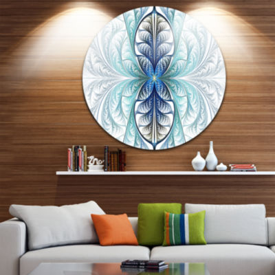 Design Art Light Blue Stained Glass Texture Abstract Round Circle Metal Wall Art