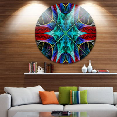 Design Art Glowing Fractal Flower Layers AbstractRound Circle Metal Wall Art