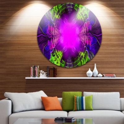 Design Art Pink Fractal Circles and Curves Abstract Round Circle Metal Wall Art