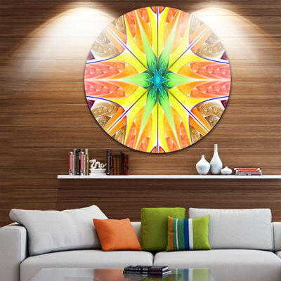 Design Art Yellow Glowing Fractal Texture AbstractRound Circle Metal Wall Art