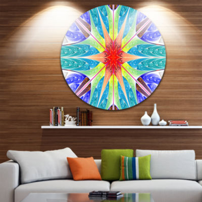 Design Art Extraordinary Fractal Blue Design Abstract Round Circle Metal Wall Art