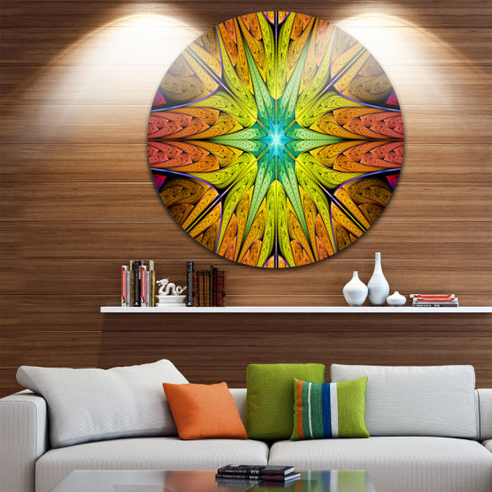 Design Art Extraordinary Fractal Yellow Design Abstract Round Circle Metal Wall Art
