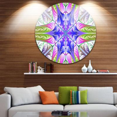 Design Art Extraordinary Fractal Light Green Art Abstract Round Circle Metal Wall Art