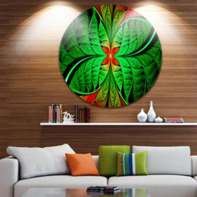 Design Art Fractal Green Leaf Design Abstract Round Circle Metal Wall Art