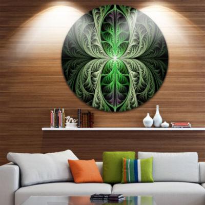 Design Art Fabulous Green Fractal Texture AbstractRound Circle Metal Wall Art