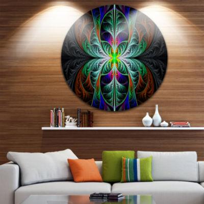 Design Art Fabulous Blue Fractal Texture AbstractRound Circle Metal Wall Art