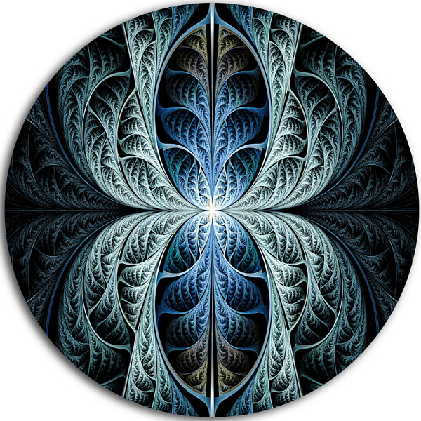 Design Art Glowing Blue Fabulous Fractal Art Abstract Round Circle Metal Wall Art
