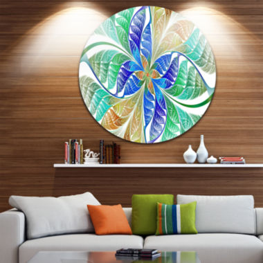 Design Art Light Blue Fractal Stained Glass Abstract Round Circle Metal Wall Art