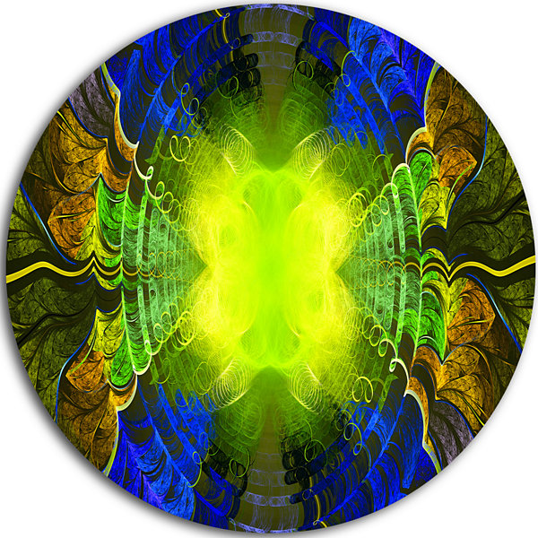 Design Art Green Golden Fractal Stained Glass Abstract Round Circle Metal Wall Art