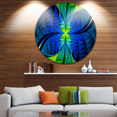 Design Art Blue Green Fractal Stained Glass Abstract Round Circle Metal Wall Art