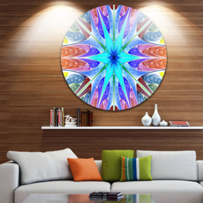 Design Art Multi Color Pink Fractal Stained GlassAbstract Round Circle Metal Wall Art