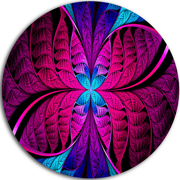 Design Art Bright Pink Fractal Stained Glass Abstract Round Circle Metal Wall Art