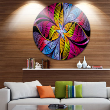Design Art Pink Yellow Fractal Stained Glass Abstract Round Circle Metal Wall Art