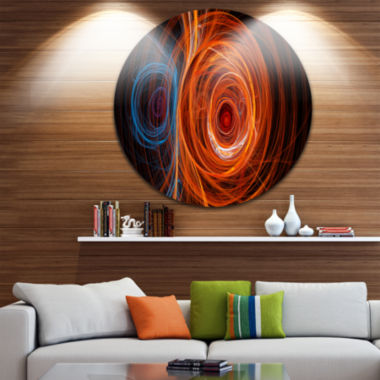 Design Art Brown Abstract Fractal Circles AbstractRound Circle Metal Wall Art