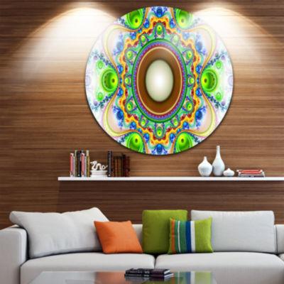 Design Art Green Fractal Circles and Waves Abstract Round Circle Metal Wall Art