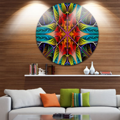 Design Art Colorful Fractal Stained Glass AbstractRound Circle Metal Wall Art