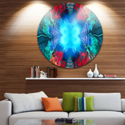 Design Art Blue Fractal Circles and Waves AbstractRound Circle Metal Wall Art