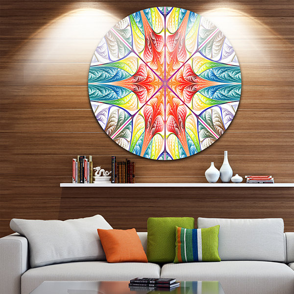 Design Art Multi Color Fractal Circles and Waves Abstract Round Circle Metal Wall Art