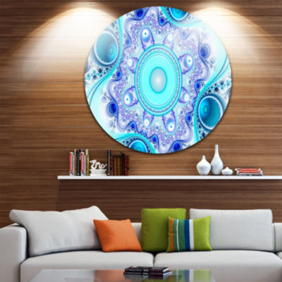Design Art Turquoise Wavy Curves and Circles Abstract Round Circle Metal Wall Art