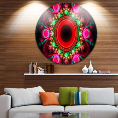 Design Art Pink Wavy Curves and Circles Abstract Round Circle Metal Wall Art
