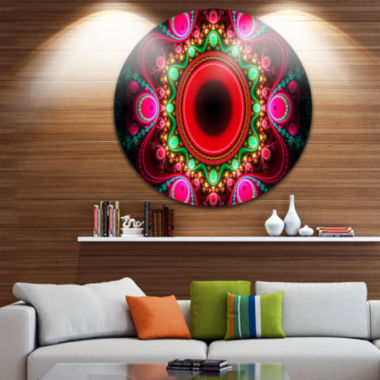 Design Art Pink Wavy Curves and Circles Abstract Round Circle Metal Wall Art