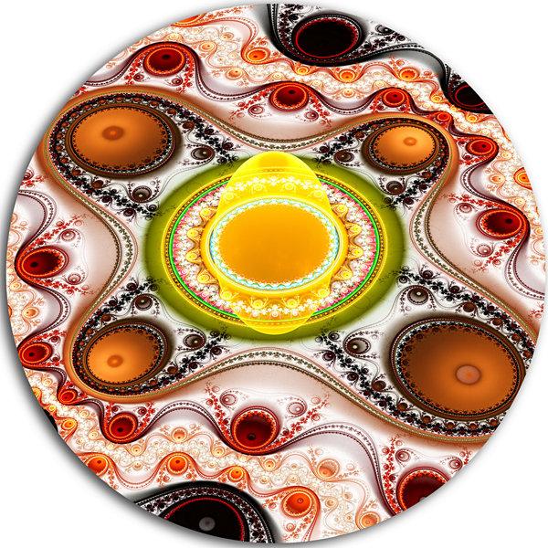 Design Art Brown Wavy Curves and Circles AbstractRound Circle Metal ...
