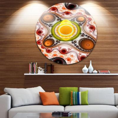 Design Art Brown Wavy Curves and Circles AbstractRound Circle Metal Wall Art