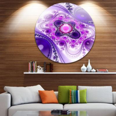 Design Art Purple Wavy Curves and Circles AbstractRound Circle Metal Wall Art