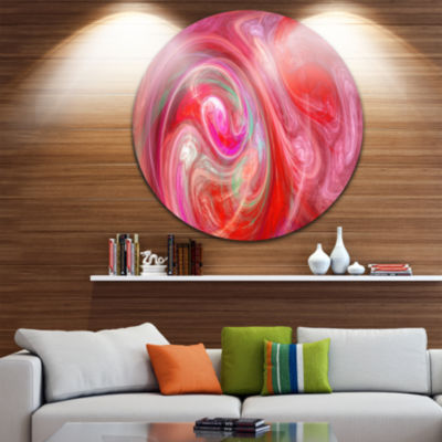 Design Art Red Fractal Pattern with Circles Abstract Round Circle Metal Wall Art