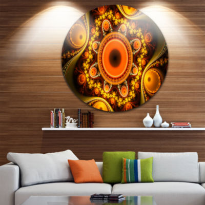 Design Art Golden Fractal Pattern with Circles Abstract Round Circle Metal Wall Art
